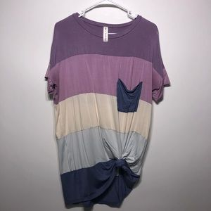 Vanilla Bay multicolor striped knotted T-shirt